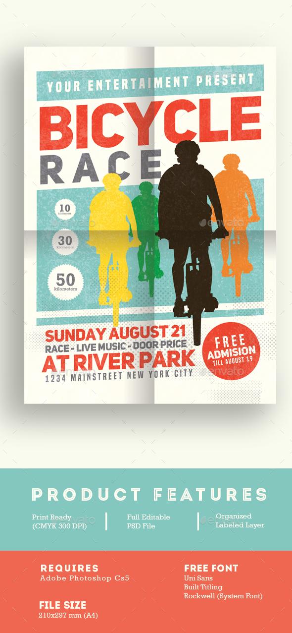 Bicycle Race Tournament - Flyers Print Templates