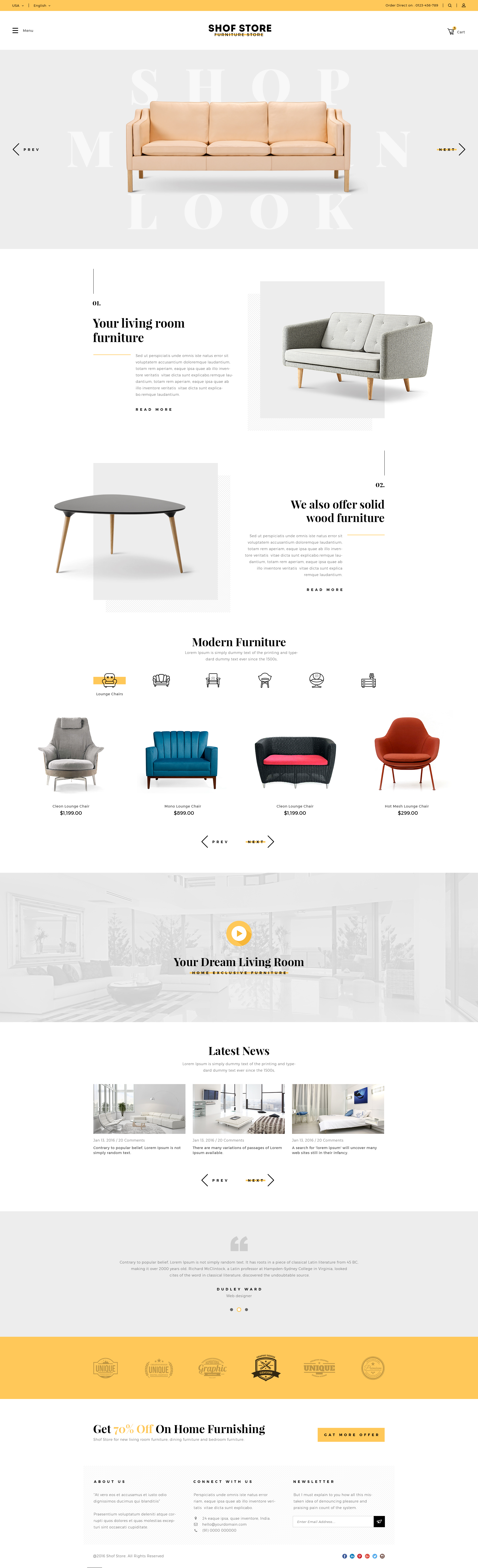 Shofstore Stylish Ecommerce Psd Template For Furniture Store By Lozox