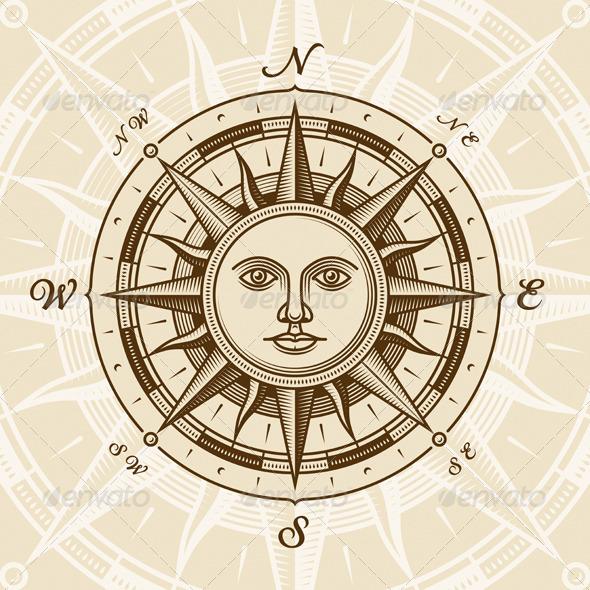 Vintage Sun Compass Rose - Travel Conceptual