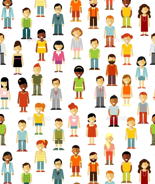 People Seamless Background - People Characters