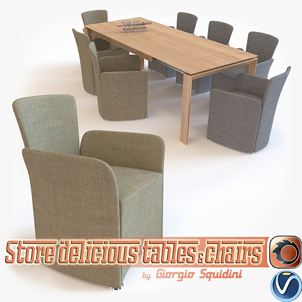 Chair NIDO & Table OMNIA dining set CALLIGARIS - 3DOcean Item for Sale