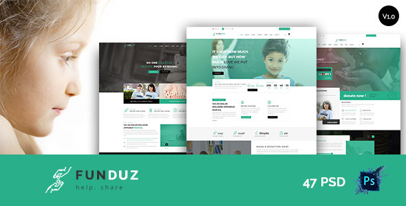 FunDuz – Charity Crowdfunding & Volunteers  PSD Template