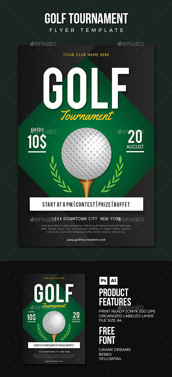 Golf flyer by vynetta graphicriver for Golf tournament program template