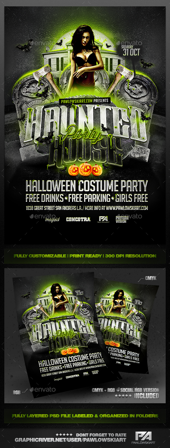 Haunted House Party Flyer PSD Templates - Clubs & Parties Events