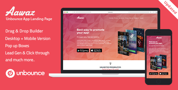 Unbounce App Landing Page Template - Aawaz - Unbounce Landing Pages Marketing