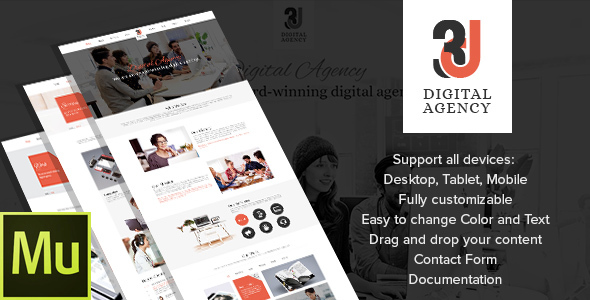 3D Digital Agency - Multipurpose Muse Theme - Creative Muse Templates