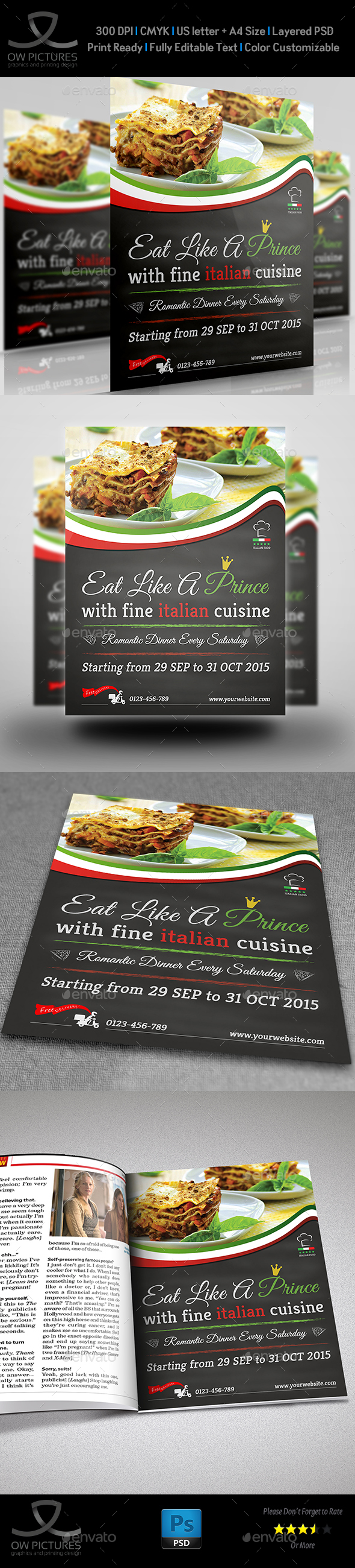 Italian Food Restaurant Flyer Vol.2 - Restaurant Flyers