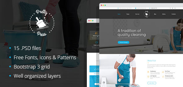 Download Free PrettyPress - Cleaning Service PSD Template