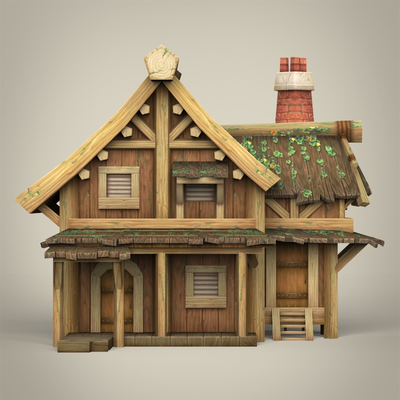 Game ready wooden house by gamingarts 3docean for Design your own house 3d games