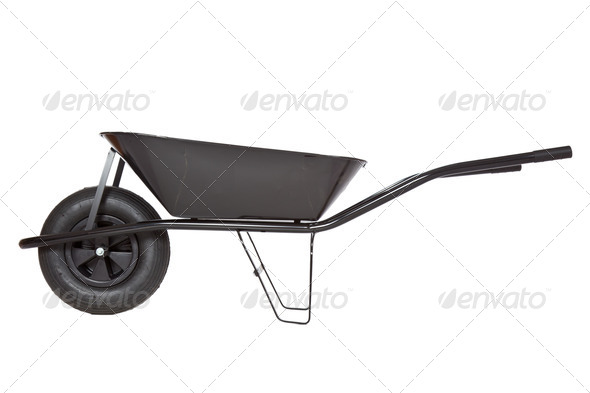 black wheelbarrow - Stock Photo - Images