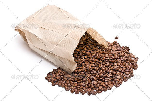 coffee beans in paper bag - Stock Photo - Images