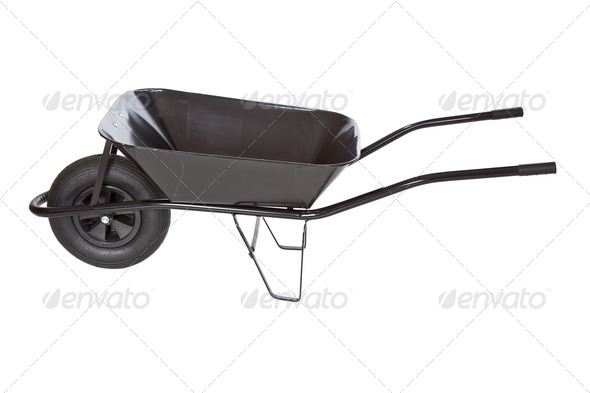 black wheelbarrow - Stock Photo - Images