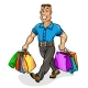 Go Shopping a Man Carrying Shopping Bags - GraphicRiver Item for Sale