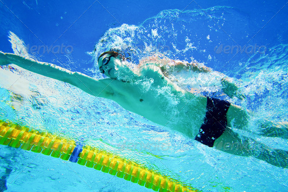 Swimmer in the Pool Underwater - Stock Photo - Images