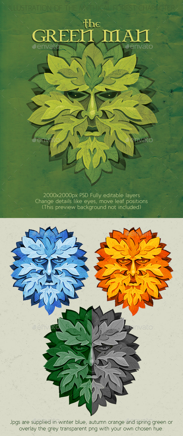 Green Man Mythical Nature Spirit - Characters Illustrations