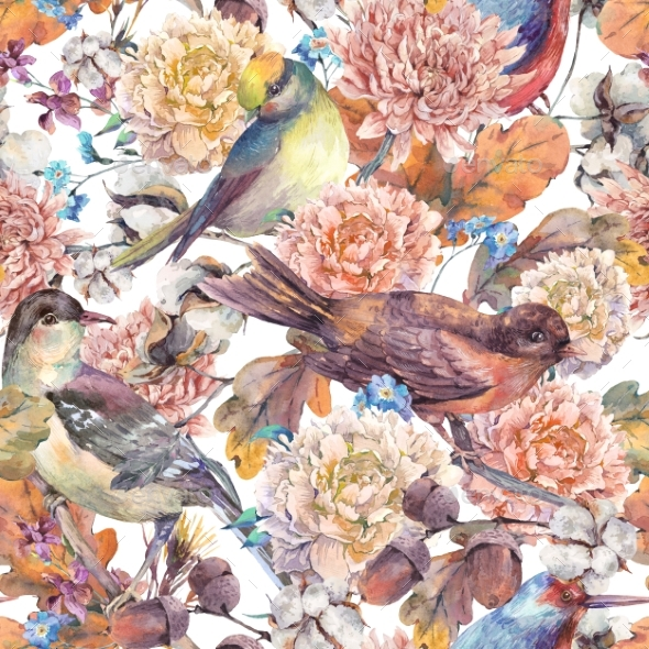 Vintage Watercolor Seamless Pattern With Birds And - Backgrounds Decorative