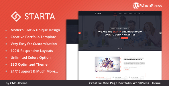 Starta – One Page Portfolio WordPress Theme