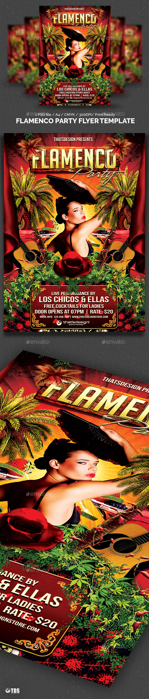 Flamenco Party Flyer Template - Clubs & Parties Events