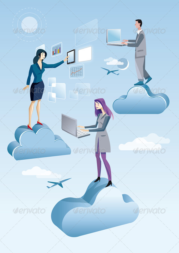 Cloud Computing Two Women And A Men - Technology Conceptual