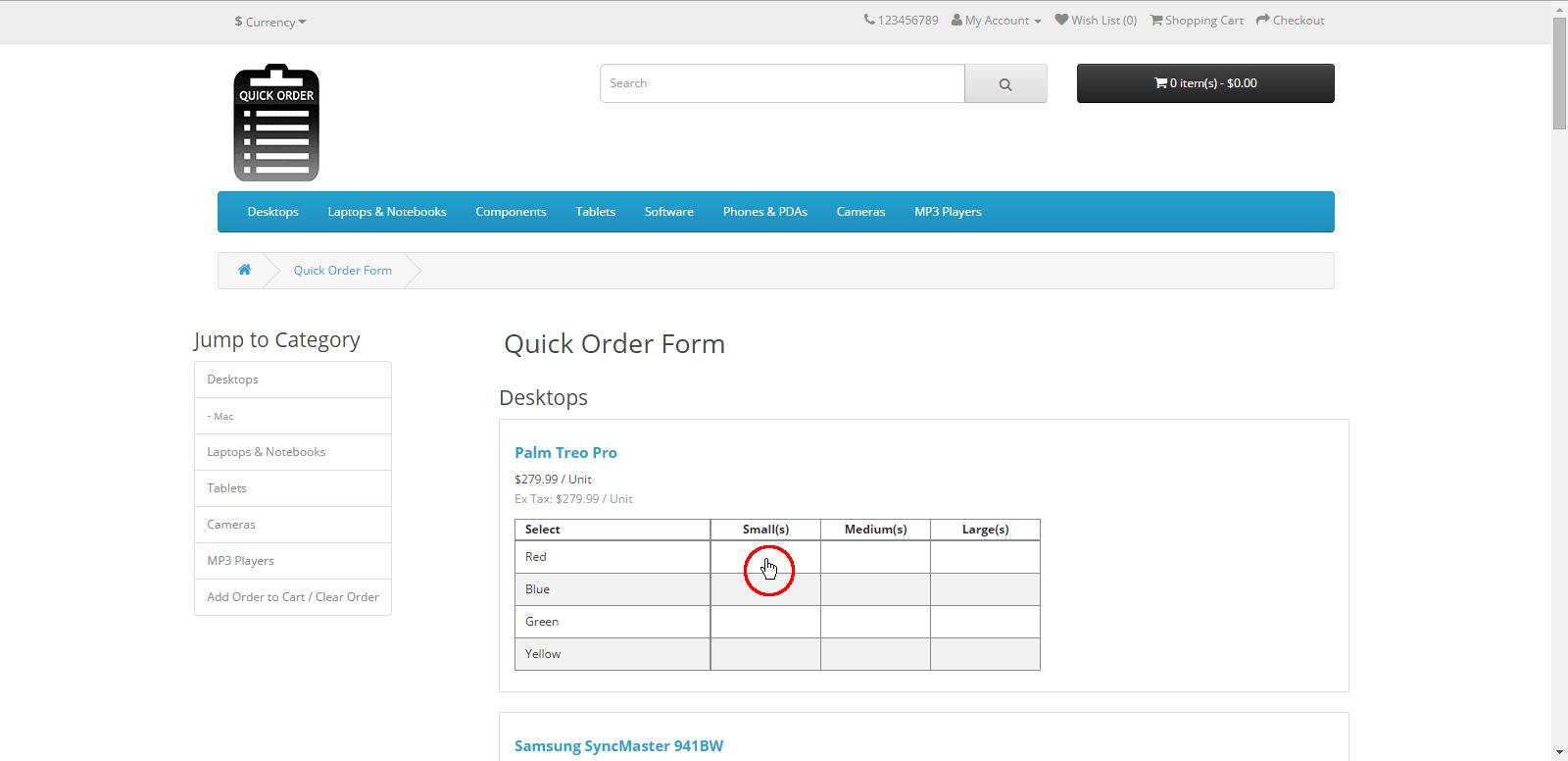quick order form  QuickOrder Form