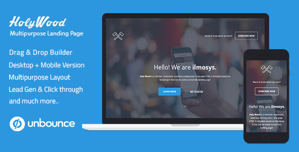 Unbounce Multipurpose Landing Page Template - Holy Wood - Unbounce Landing Pages Marketing