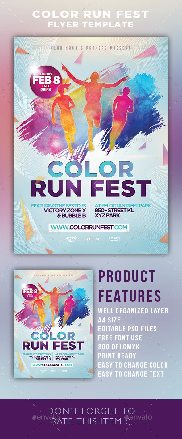 color run festival flyer template by adimasen graphicriver