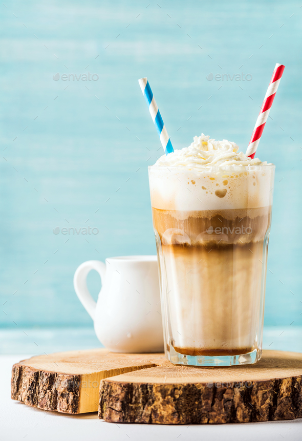 Latte macchiato with whipped cream - Stock Photo - Images