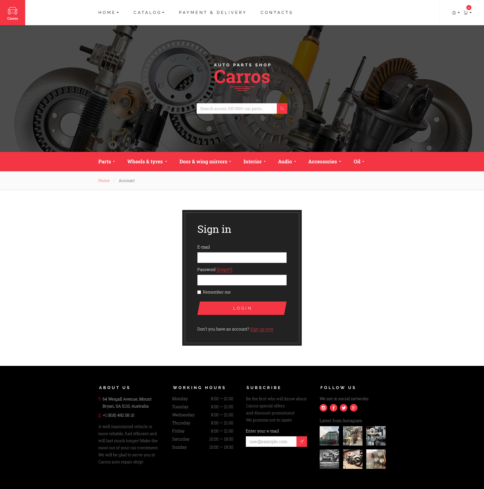 Carros — Auto Service Tuning Center Parts Retailer PSD