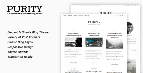 Purity – Clean & Minimal Blog WordPress Theme