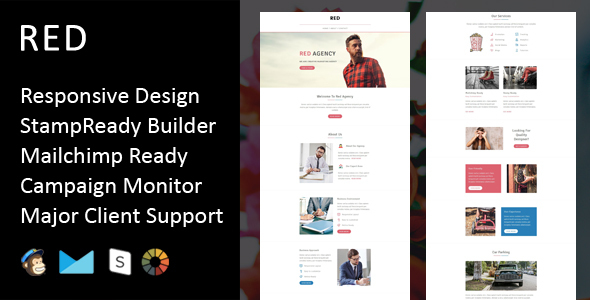 Red – Multipurpose Responsive Email Template + Stampready Builder