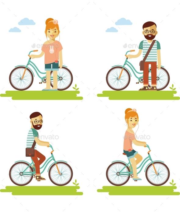 Bike People Set - Sports/Activity Conceptual