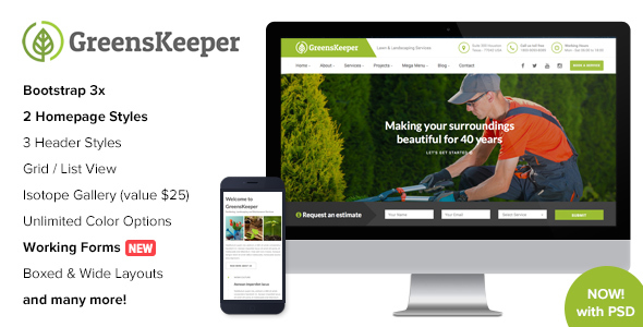 GreensKeeper - Gardening & Landscaping Responsive HTML5 Template - Business Corporate