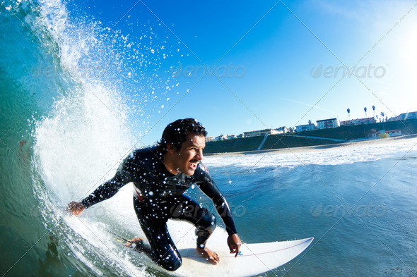 Surfer On Blue Ocean Wave - Stock Photo - Images
