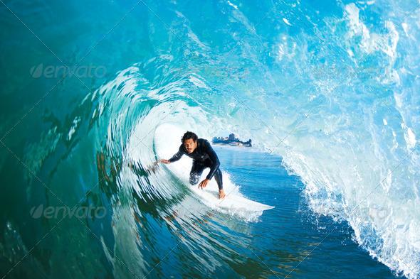 Surfer On Blue Ocean Wave - Stock Photo - Images