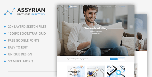 Assyrian - Online Marketing, SEO, Social Media Agency Sketch Template - Sketch Templates