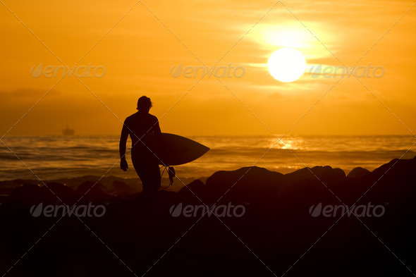 Sunset Surfer - Stock Photo - Images