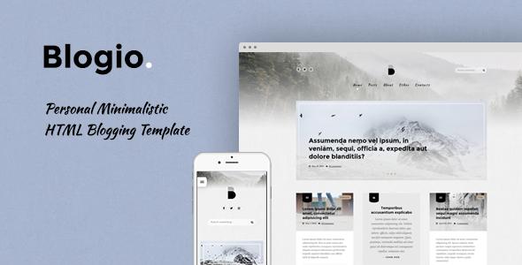 Blogio Personal Minimalistic HTML Blogging Template - Personal Site Templates