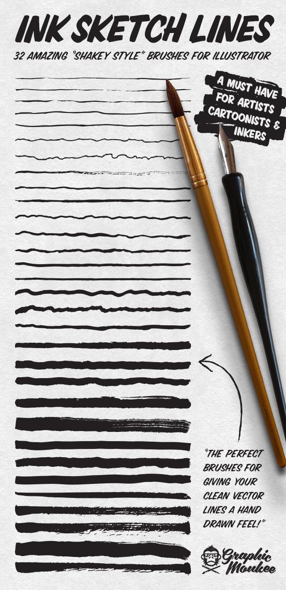 Ink Sketch Lines - 32 Illustrator Brushes - Artistic Brushes