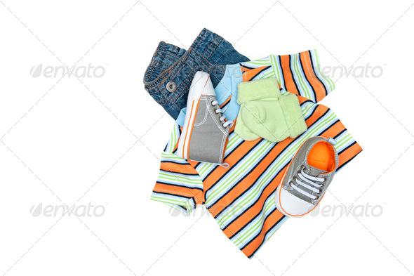 Baby clothing on white - Stock Photo - Images
