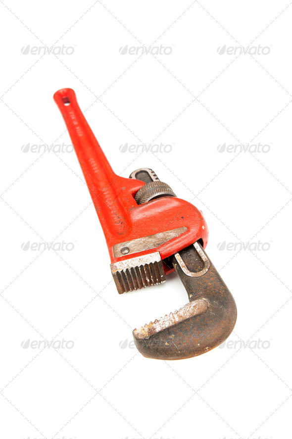 Pipe wrench on white - Stock Photo - Images