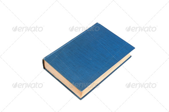 Blue book isolated on white - Stock Photo - Images