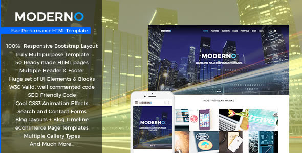 Moderno - Multipurpose Fast Performance HTML Template - Corporate Site Templates