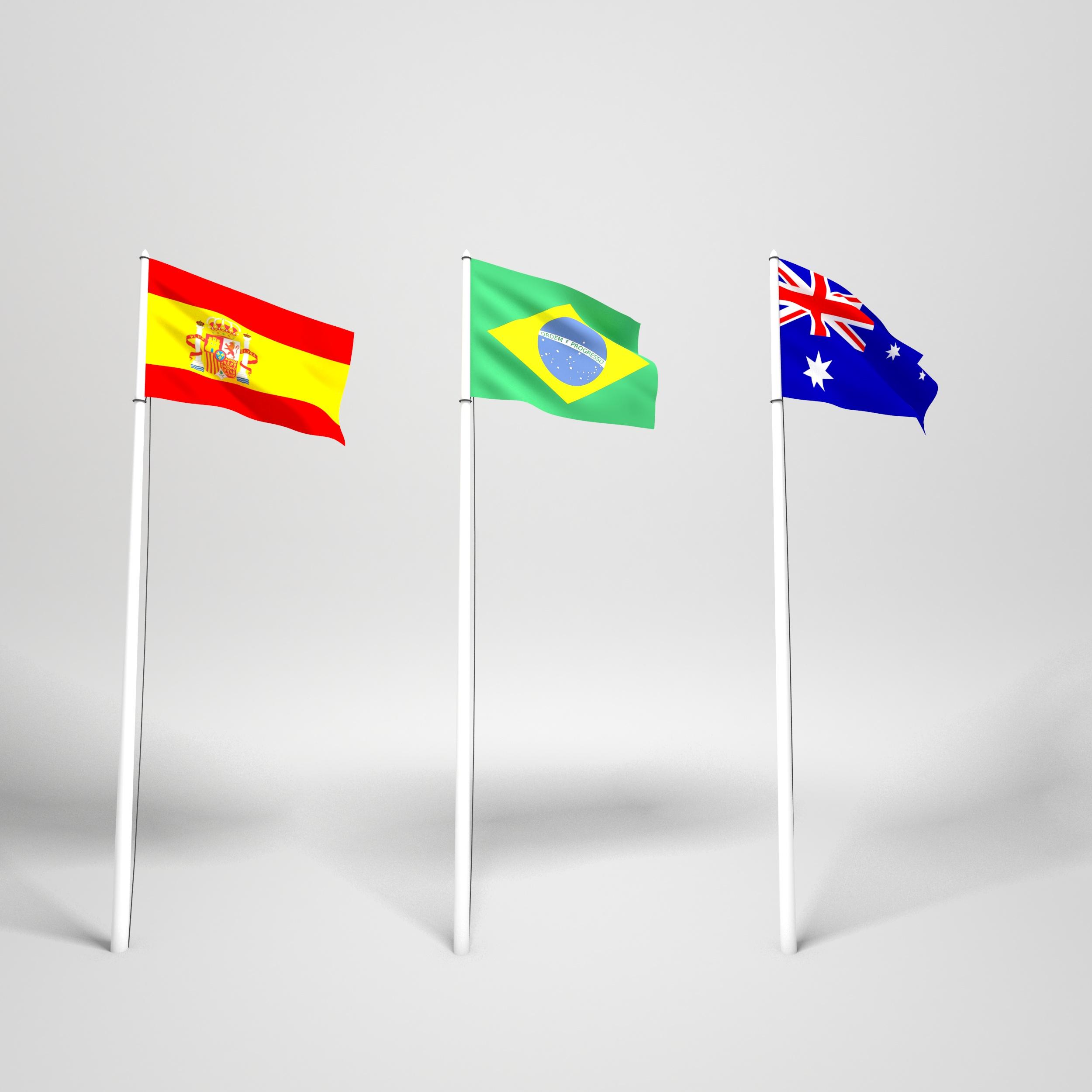 Realistic Worldwide Flag Pack