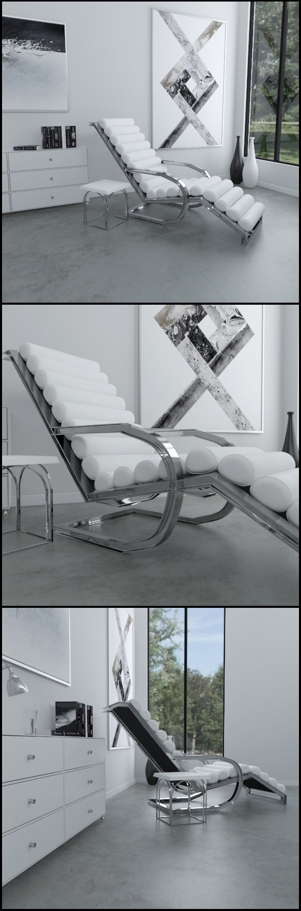 White leather lounge chair with side table - 3DOcean Item for Sale