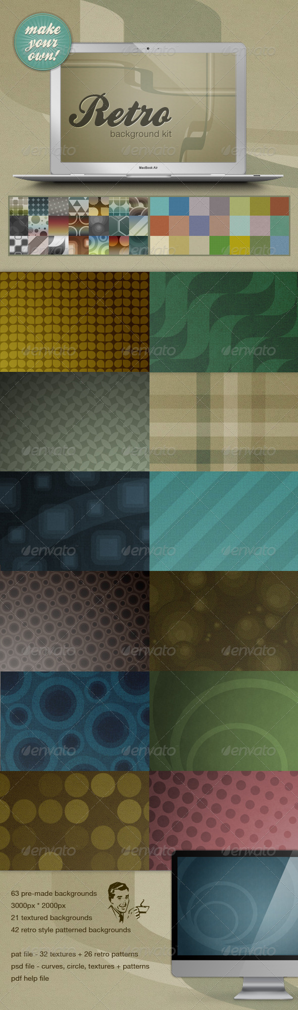 Retro Web Background Kit - Make Your Own!