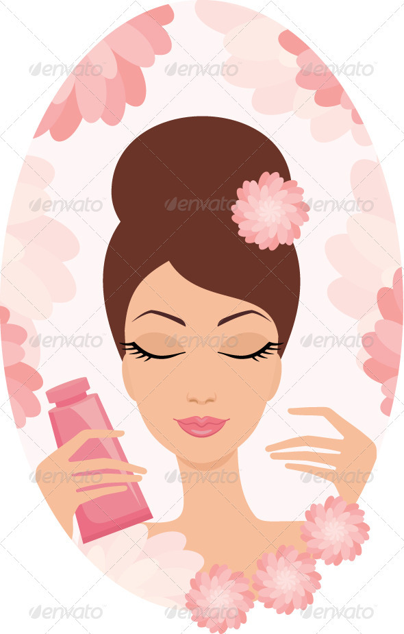 Beautiful young woman with a cosmetics set - Characters Vectors