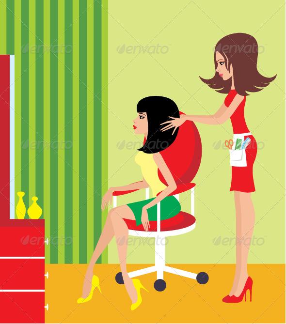 Woman in a beauty salon. - Characters Vectors
