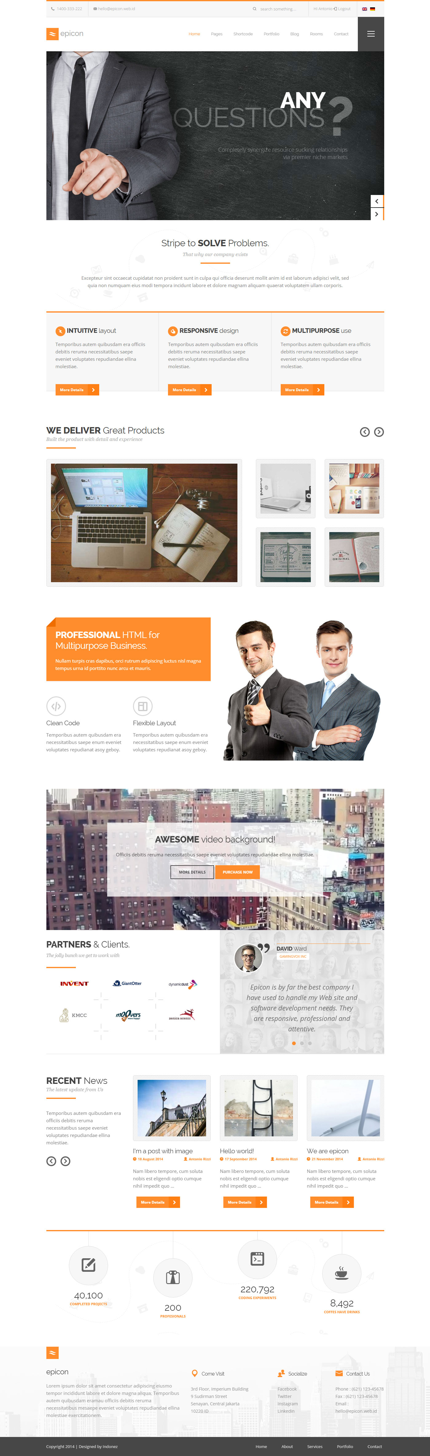 Epicon minimalist multipurpose wordpress theme by for Minimalist homepage