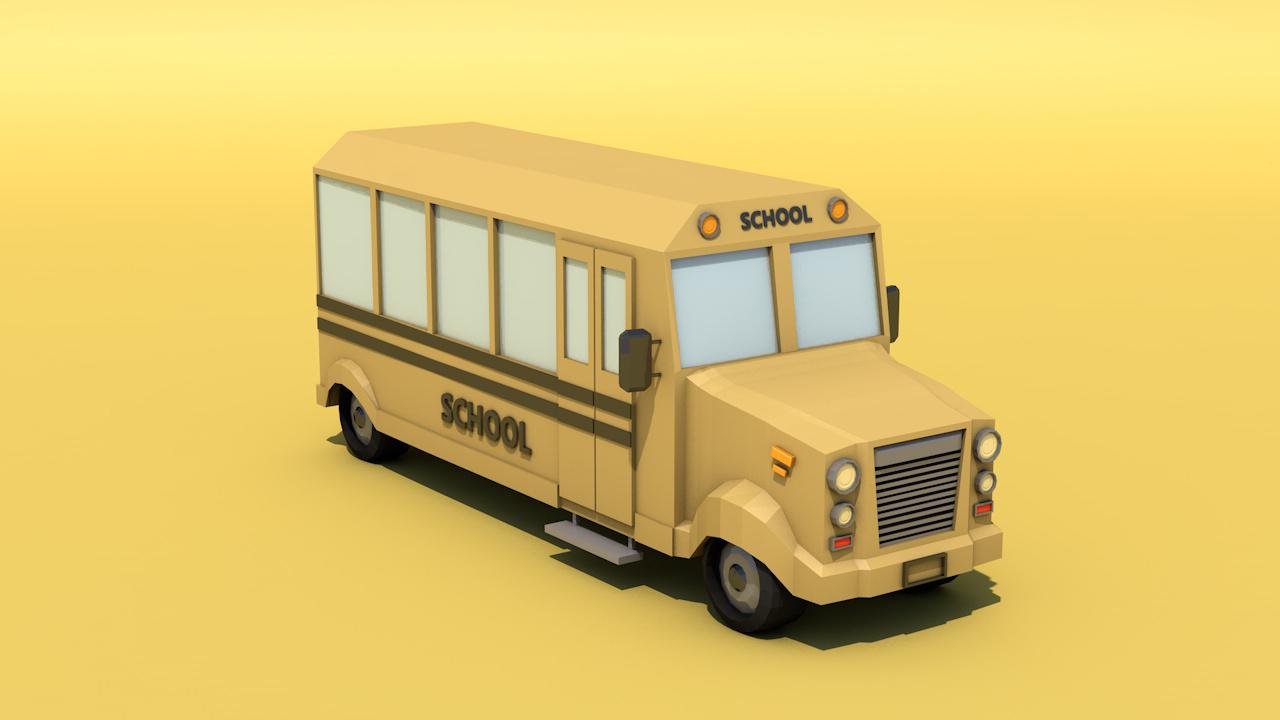 Low Poly School Bus By Le Vitskaya 3docean