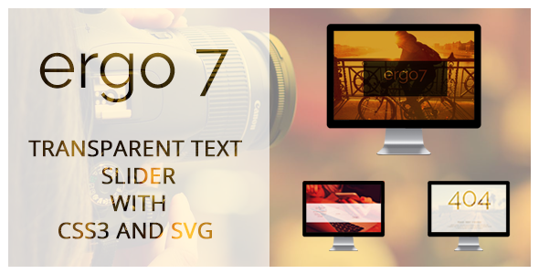 Transparent Text Slider, Contact Form, 404 Page, With CSS3 and SVG - CodeCanyon Item for Sale
